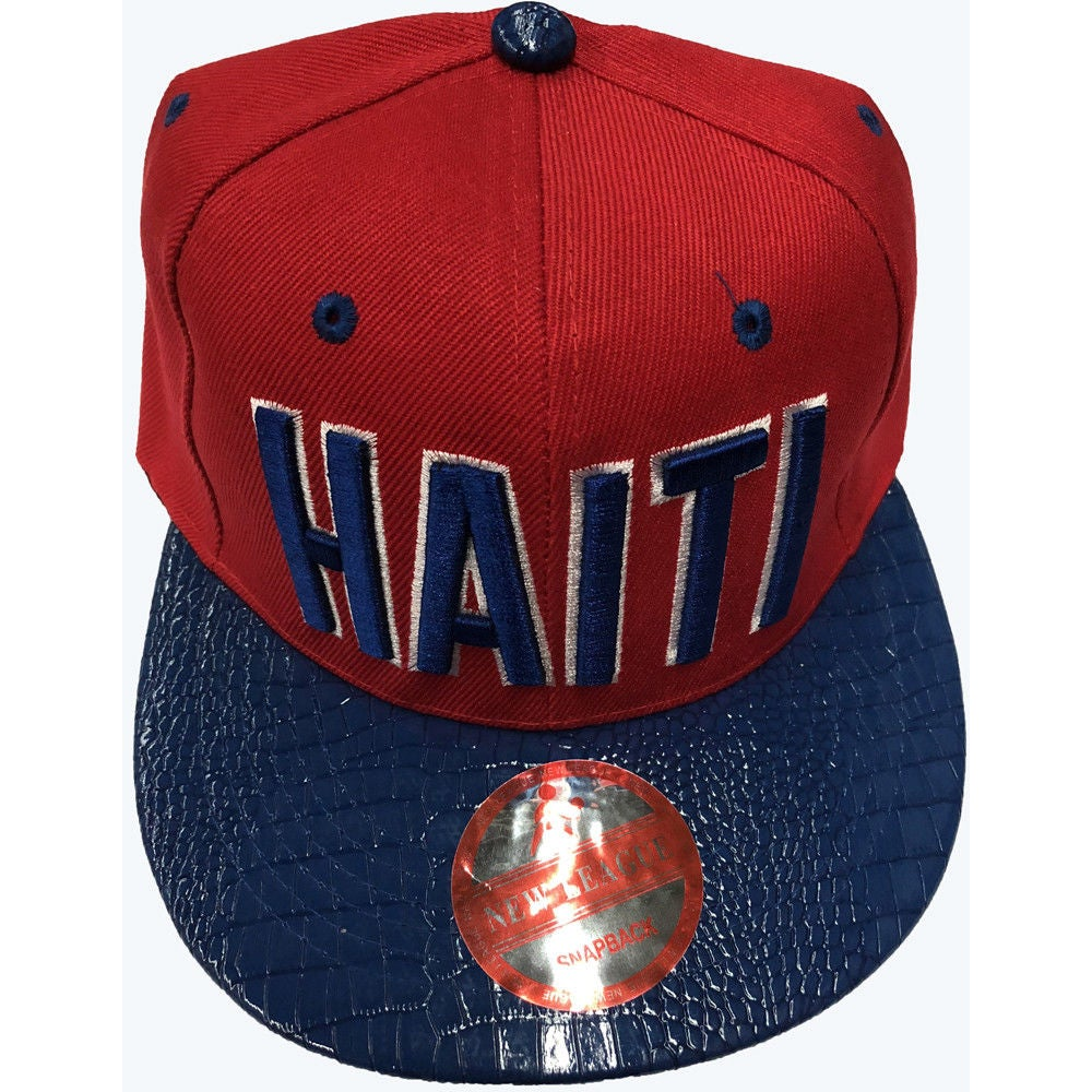 Image of SNAPBACK RED AND BLUE WITH HAITI BLUE