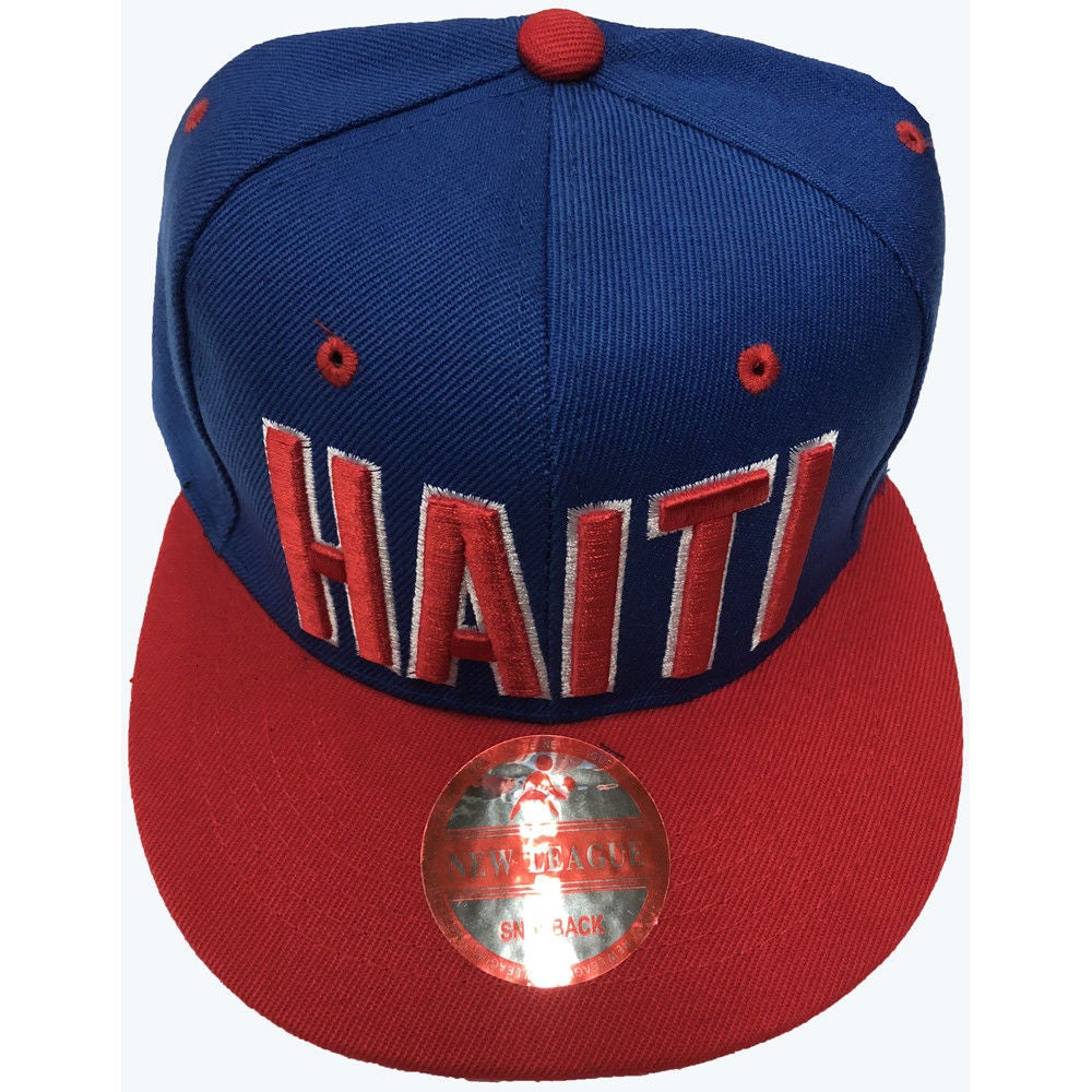 Image of SNAPBACK RED AND BLUE WITH HAITI RED