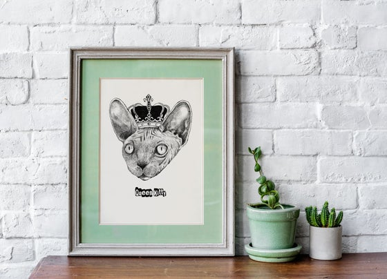 Image of Queen Kitty - Sphynx Cat Illustration print