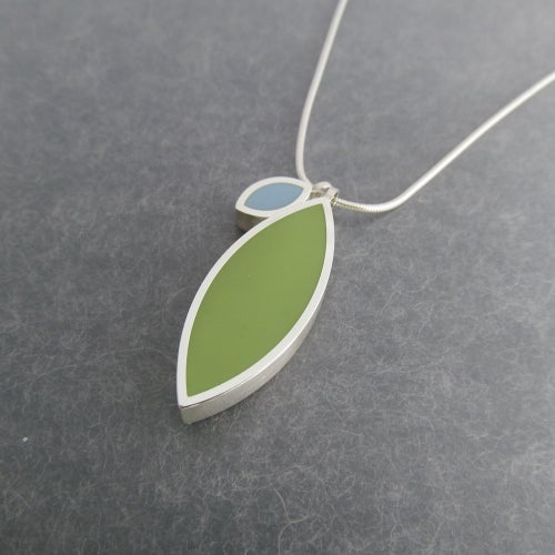 Image of Large Double Silver Leaf Pendant in a Choice of Colours
