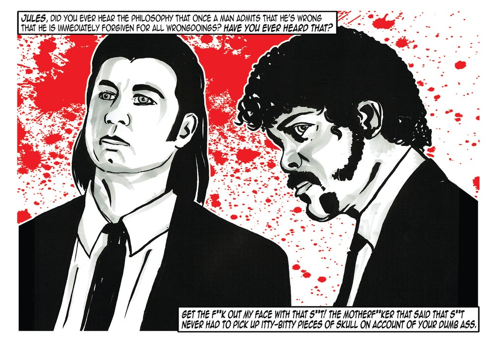 Image of Jules And Vincent A4 Signed Print (Pulp Fiction)