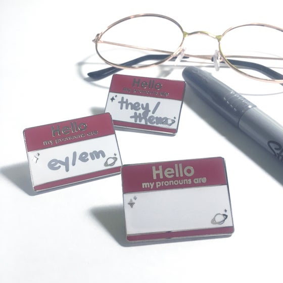"Image of pronouns tag   1.5"" enamel pin"