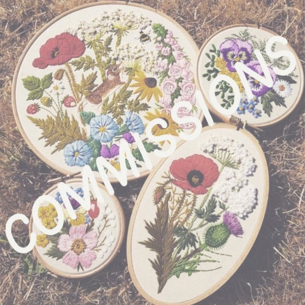 Image of Floral Embroidery/ 8 inch round hoop