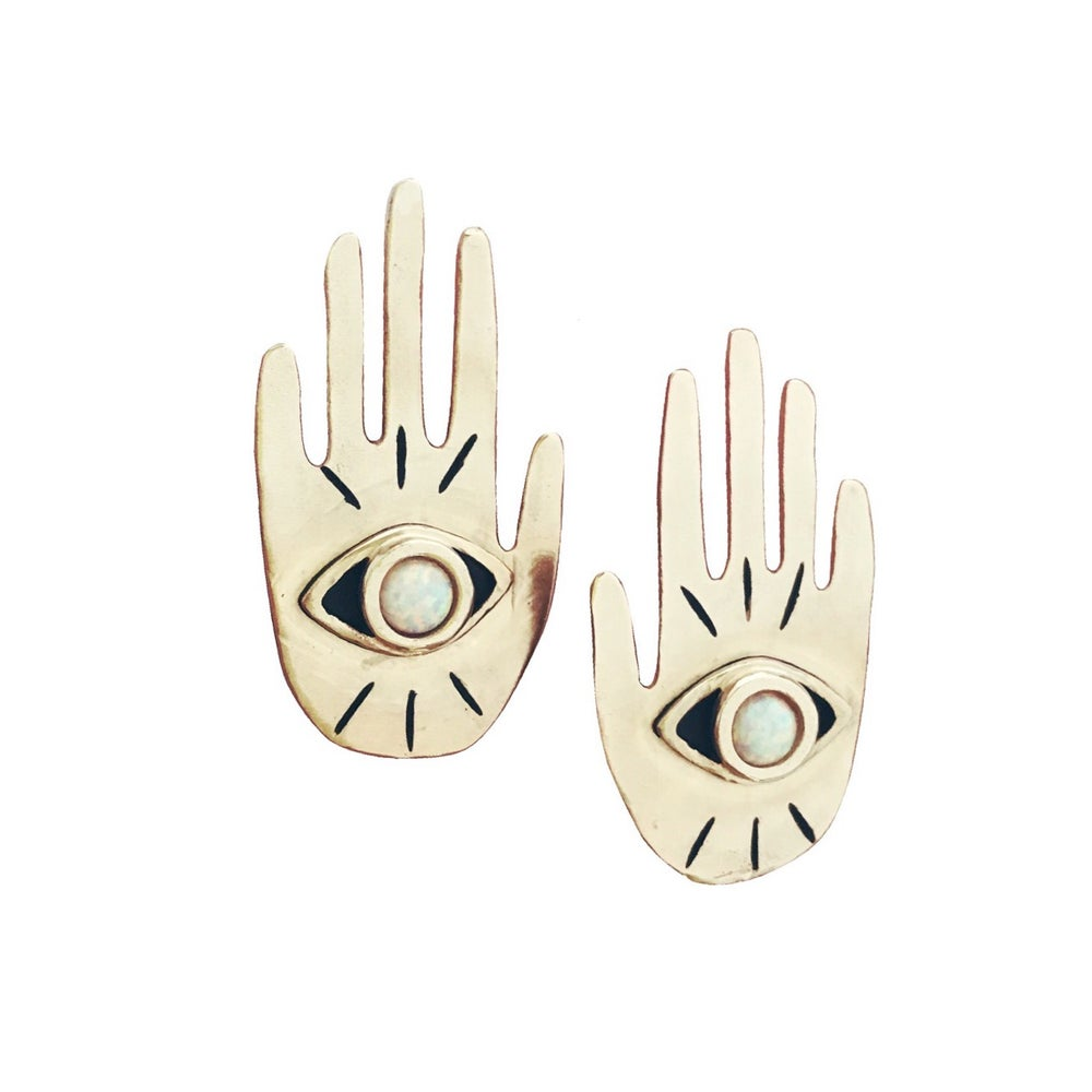 Image of Hand Eye Statement Earrings with Opal