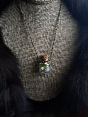 Image of Wolf Bone and Amethyst Curio Bottle Necklace