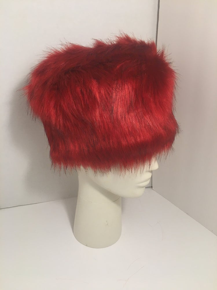 Image of Red Faux Fur Winter Hat
