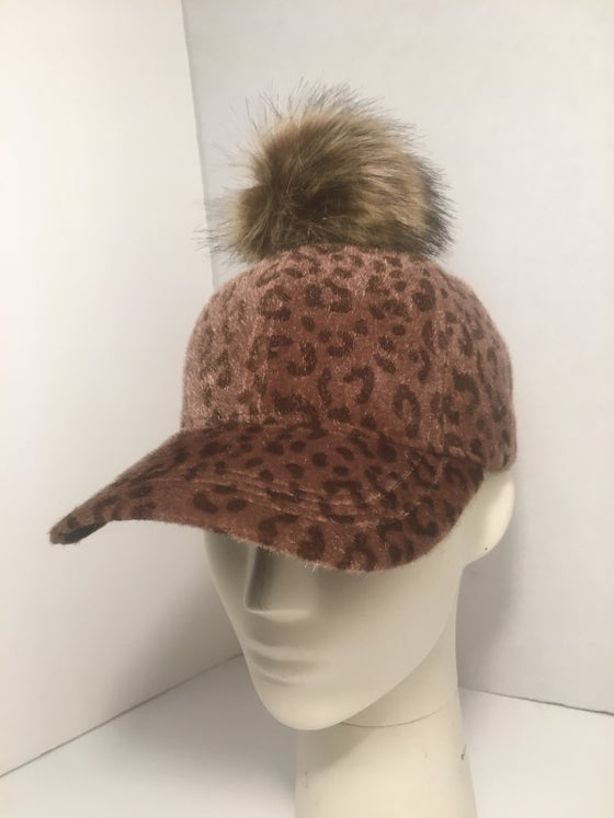 Image of Leopard print fur ball cap