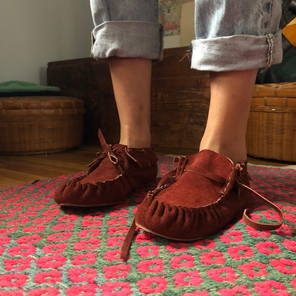 Image of Adult's Moccasin Bootie - Burgundy