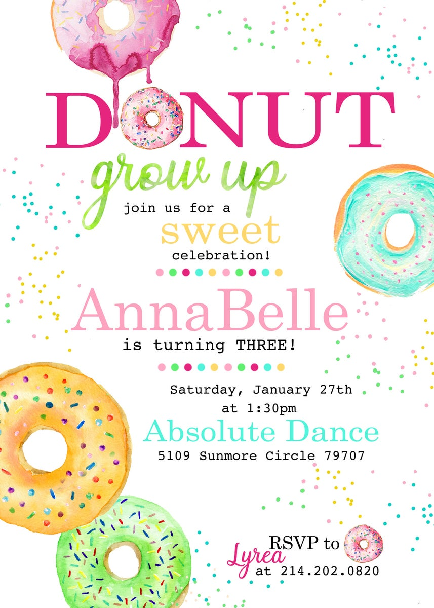 Paperfoxprints Donut Grow Up Birthday Party