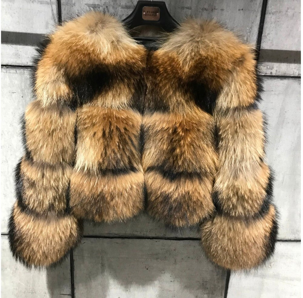Image of PETITE RACCOON FUR COAT