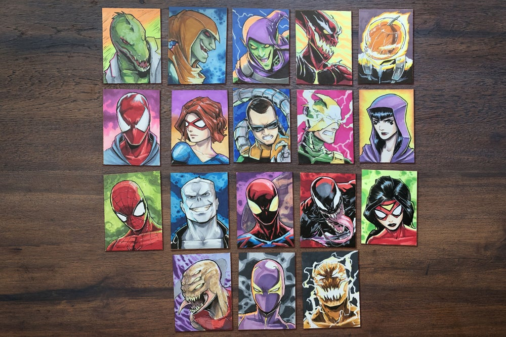 Image of #SpidermanABCs handrawn Original Sketch cards