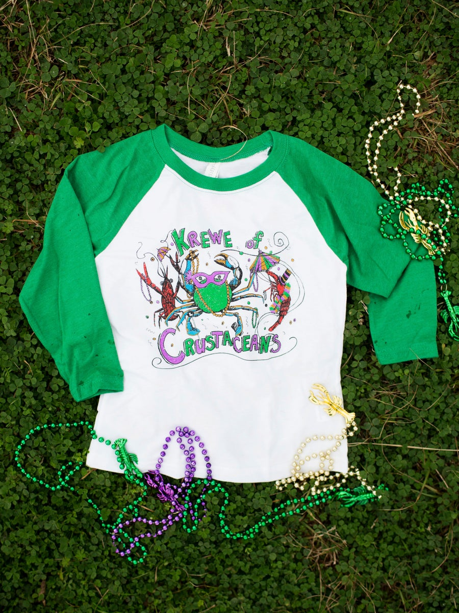 Image of Youth Krewe of Crustaceans 3/4 Length Raglan