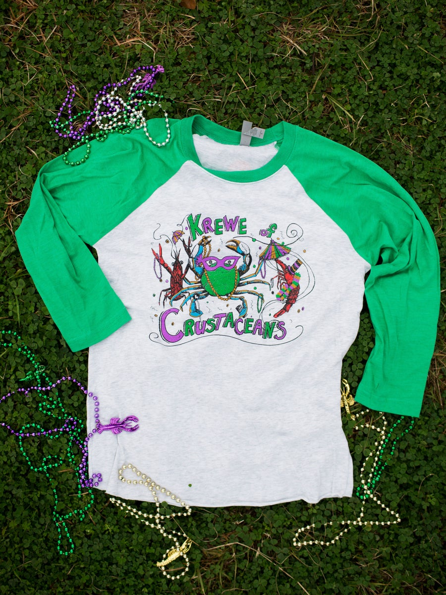 Image of Adult Krewe of Crustaceans 3/4 Length Raglan