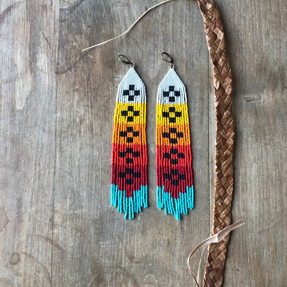 Image of Warm gradient cross pattern fringe earrings