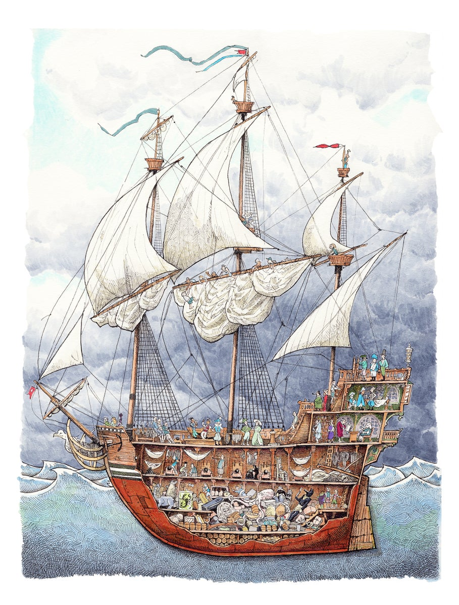 """Pirate ship No. 3 12"""" X 9"""" 