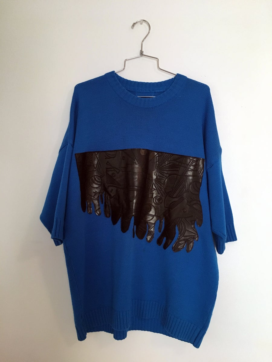 Image of Neon Blue Embossed Leather Blob Sweater