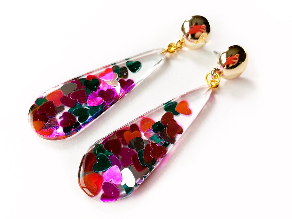 Image of Hearts Sparkle Statement Earrings