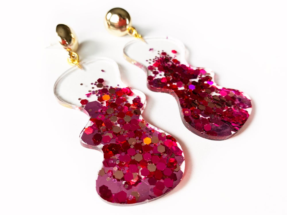 Image of Pink Blobbity Sparkle Statement Earrings