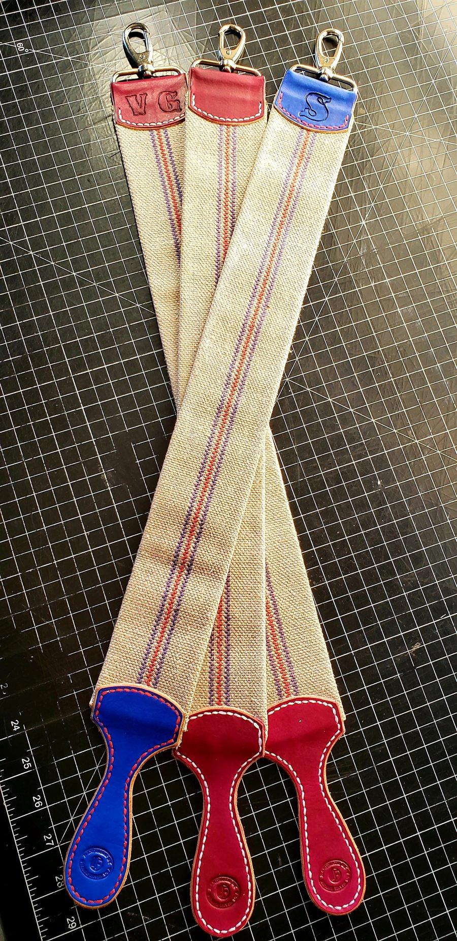 Image of Custom Vintage Linen Fire Hose Strop. For straight razors or knives.