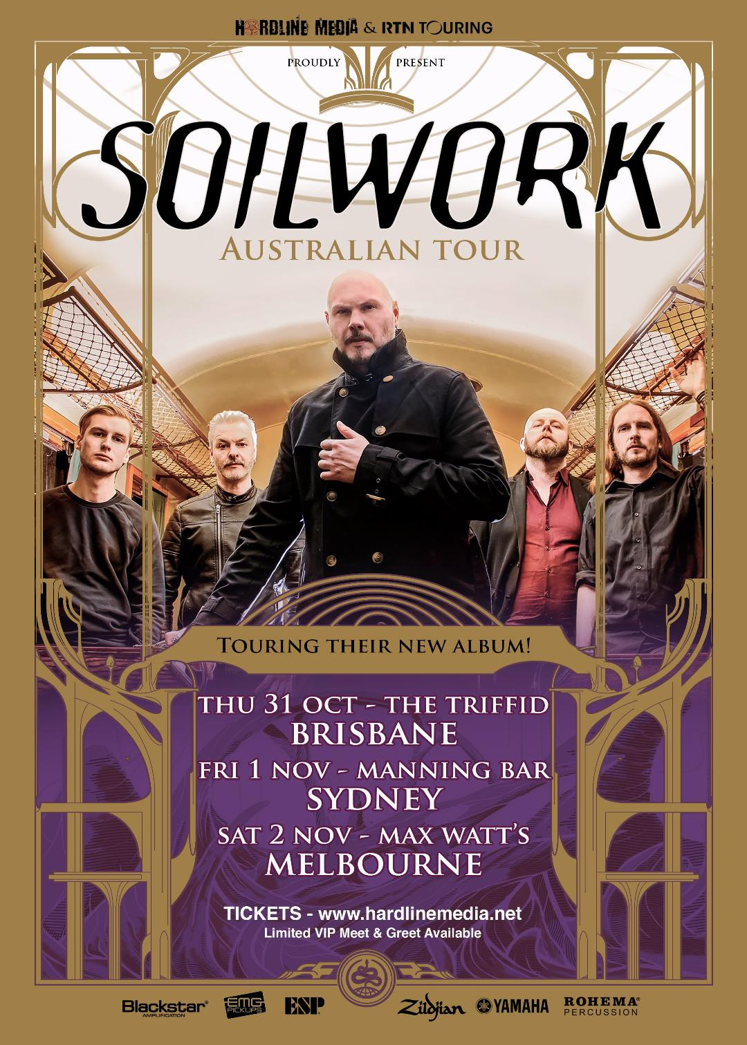 Image of SOILWORK TICKET (VIP) - SYDNEY, MANNING BAR - FRI 1 NOV 2019