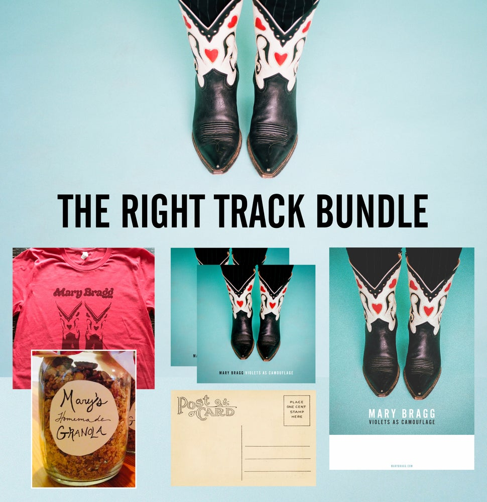 Image of Right Track Bundle [Signed CD, T-Shirt, Poster, Lyrics, Tour Postcard, Studio Granola]