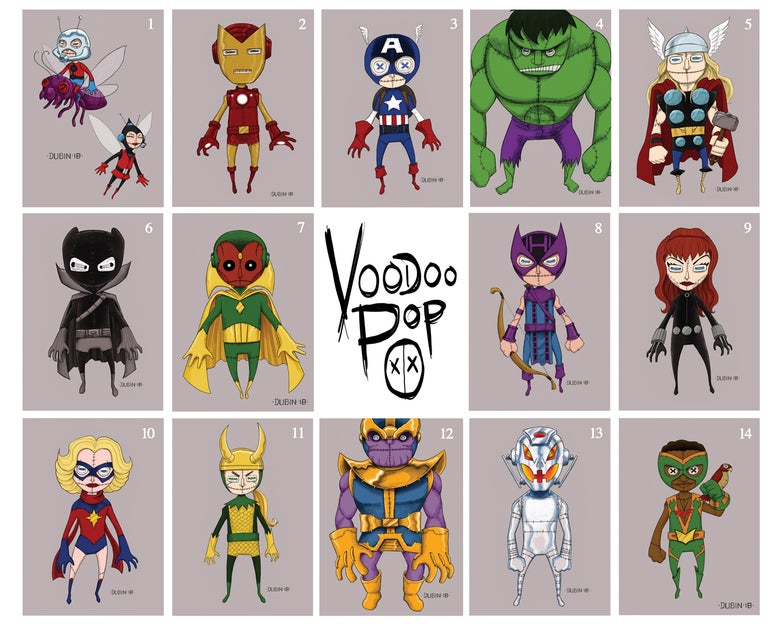 "Image of Voodoo Pop 5x7"" Characters"