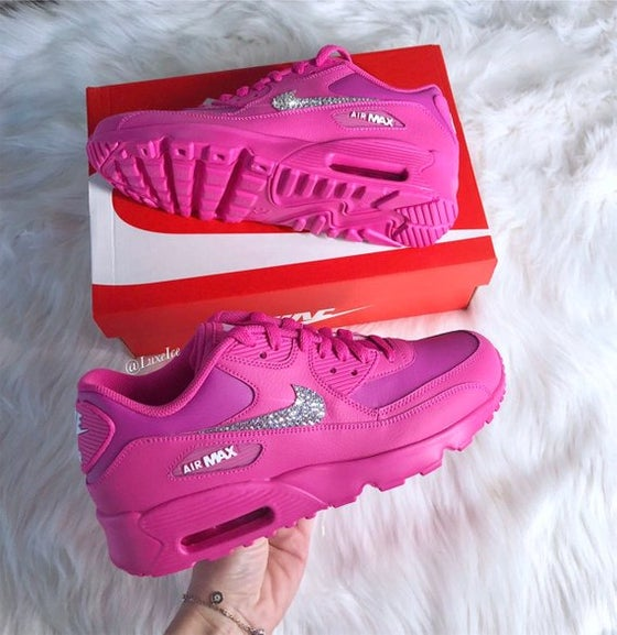 Image of Swarovski Nike Air Max 90 Laser Fuchsia Made with SWAROVSKI® Crystals.