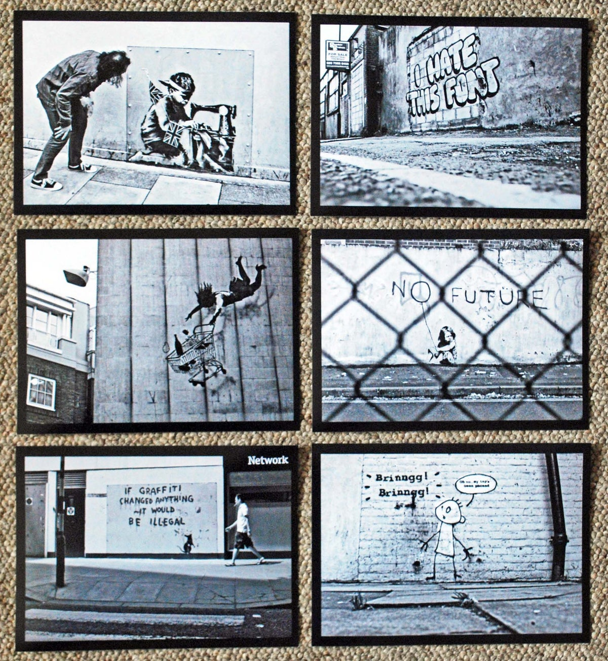 "Image of 6 x Black & White Banksy street art photos - 7"" x 5"" (2010-2012 era)"