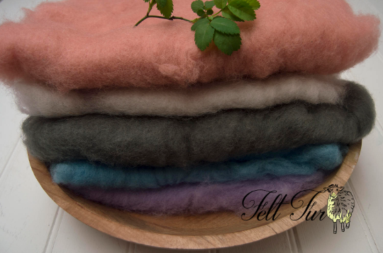 Image of Set B of 5 mini wool, Fluffy Wool, Posing blanket, Wool layer, Felt Basket Filler, Photography Prop,