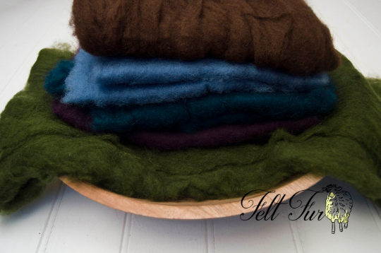 Image of Set C of 5 mini wool, Fluffy Wool, Posing blanket, Wool layer, Felt Basket Filler, Photography Prop,