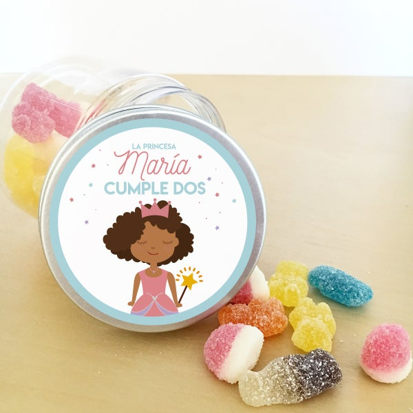 Image of Tarritos de chuches cumple - Princesa Personalizada