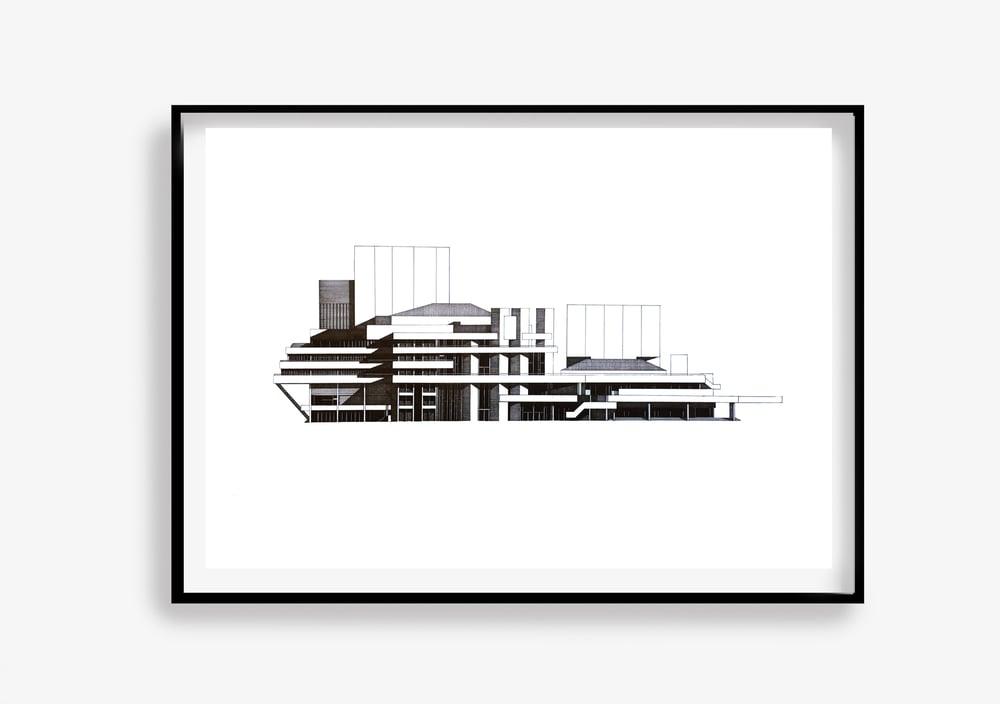 Image of National Theatre (North Elevation) ORIGINAL pen & ink
