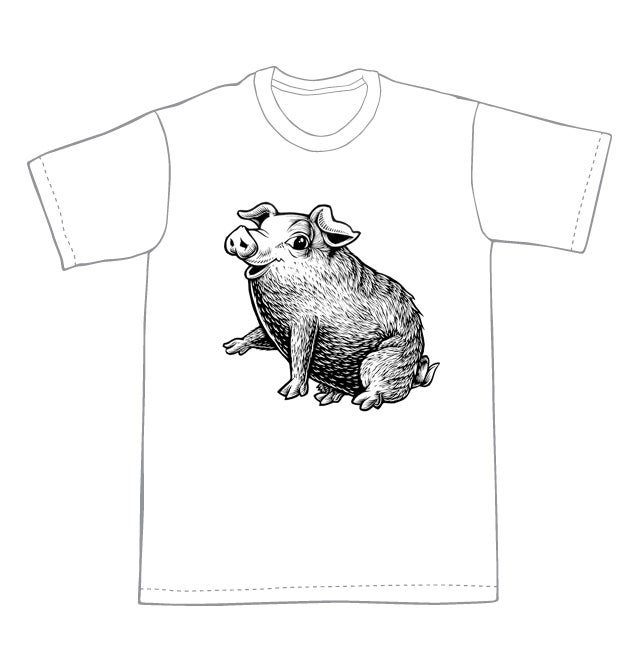 Little Round Piglet T-shirt  (A2)**FREE SHIPPING**