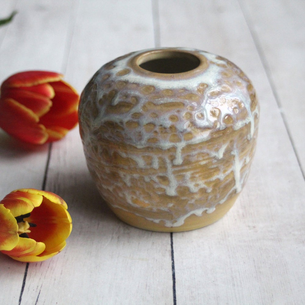 Image of Rustic Vase with White Icing Glaze Handcrafted Flower Vase Made in USA