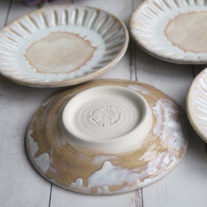 Image of Set of Four Dessert Dishes in Rustic White and Ocher Glaze, Handcrafted Pottery Made in USA