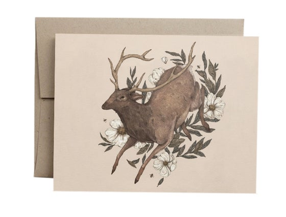 Image of Floral Elk Card