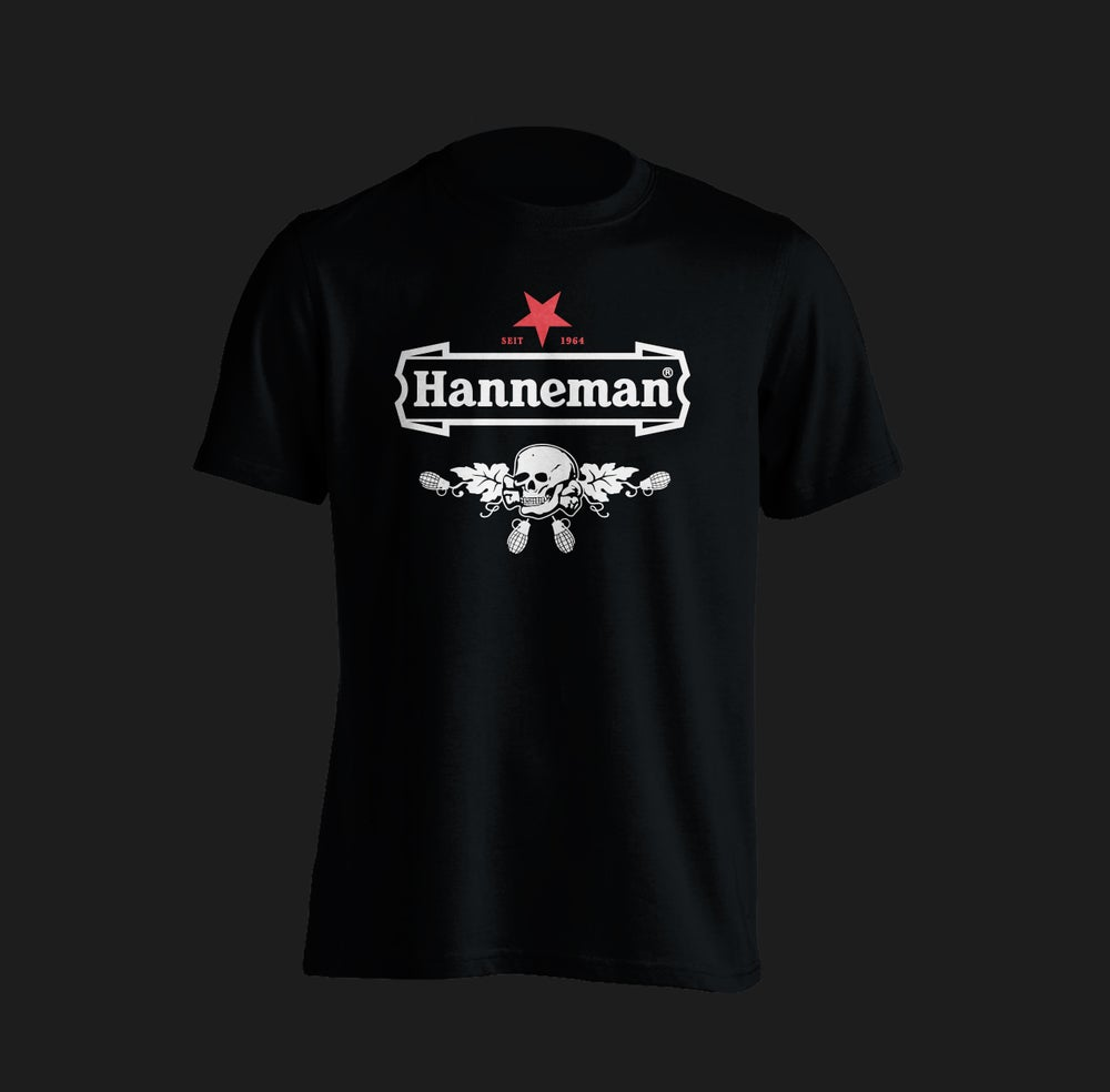 Image of Hanneman - Skull. Tribute to the legend. Black T-shirt