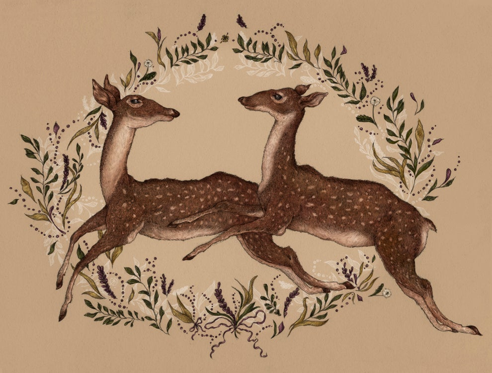 Image of Jumping Deer Print