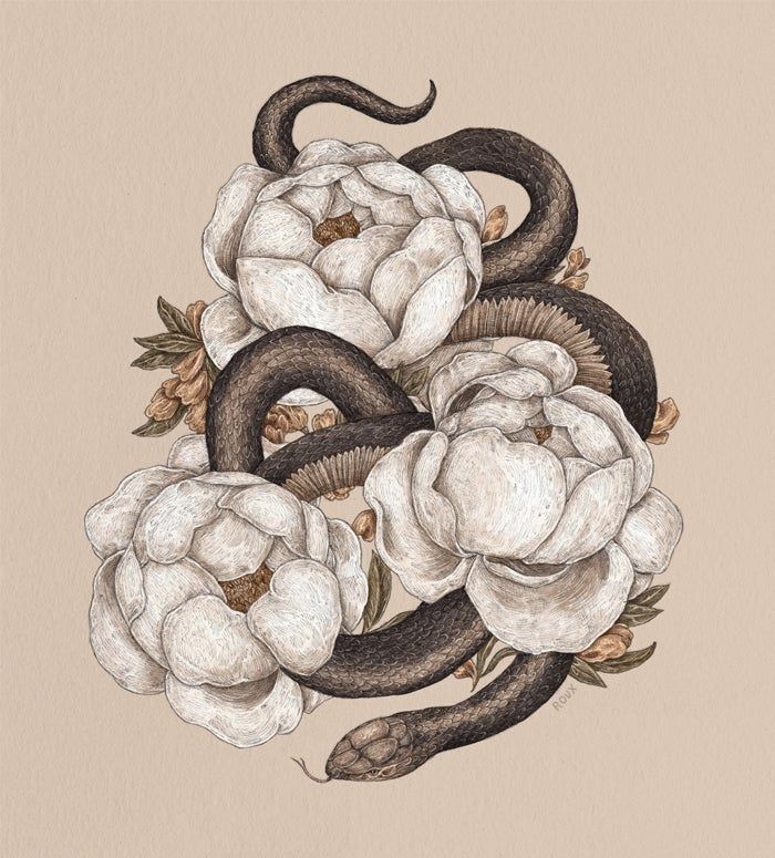 Image of Snake and Peonies Print