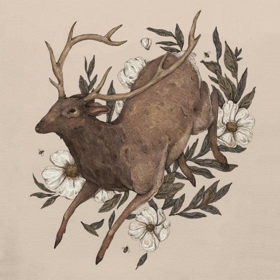 Image of Floral Elk Print