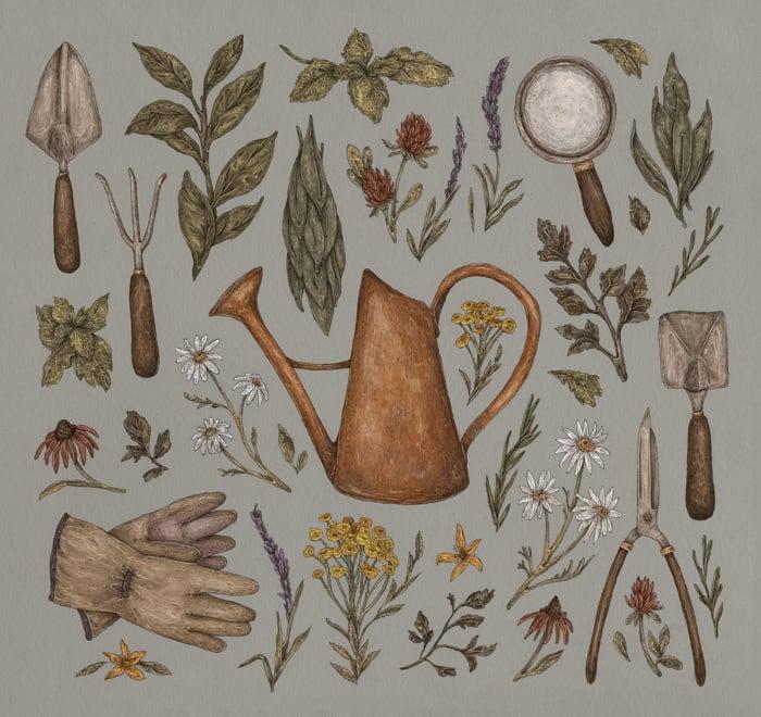 Image of Gardening Print
