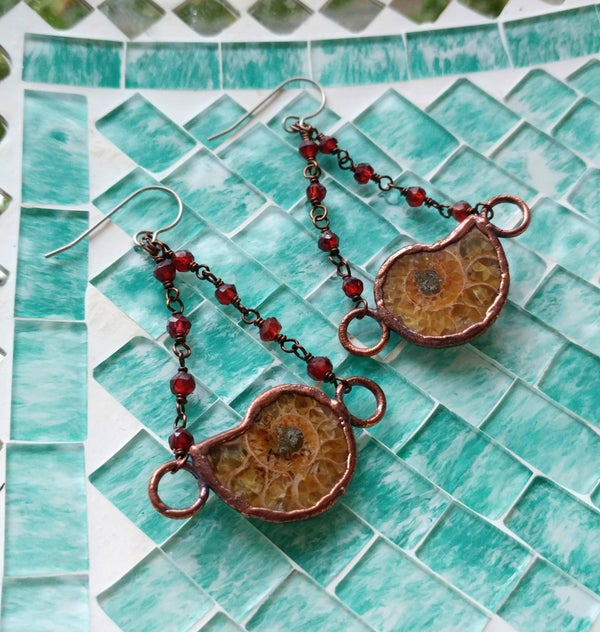Image of Ammonite Fossil + Garnet Earrings
