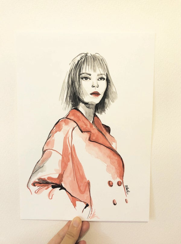 Image of Red Trench Coat Original Artwork