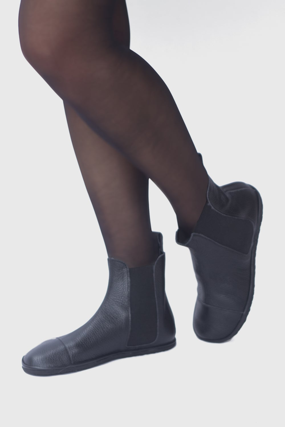 Image of High Top Chelsea boots - in Pebbled Black