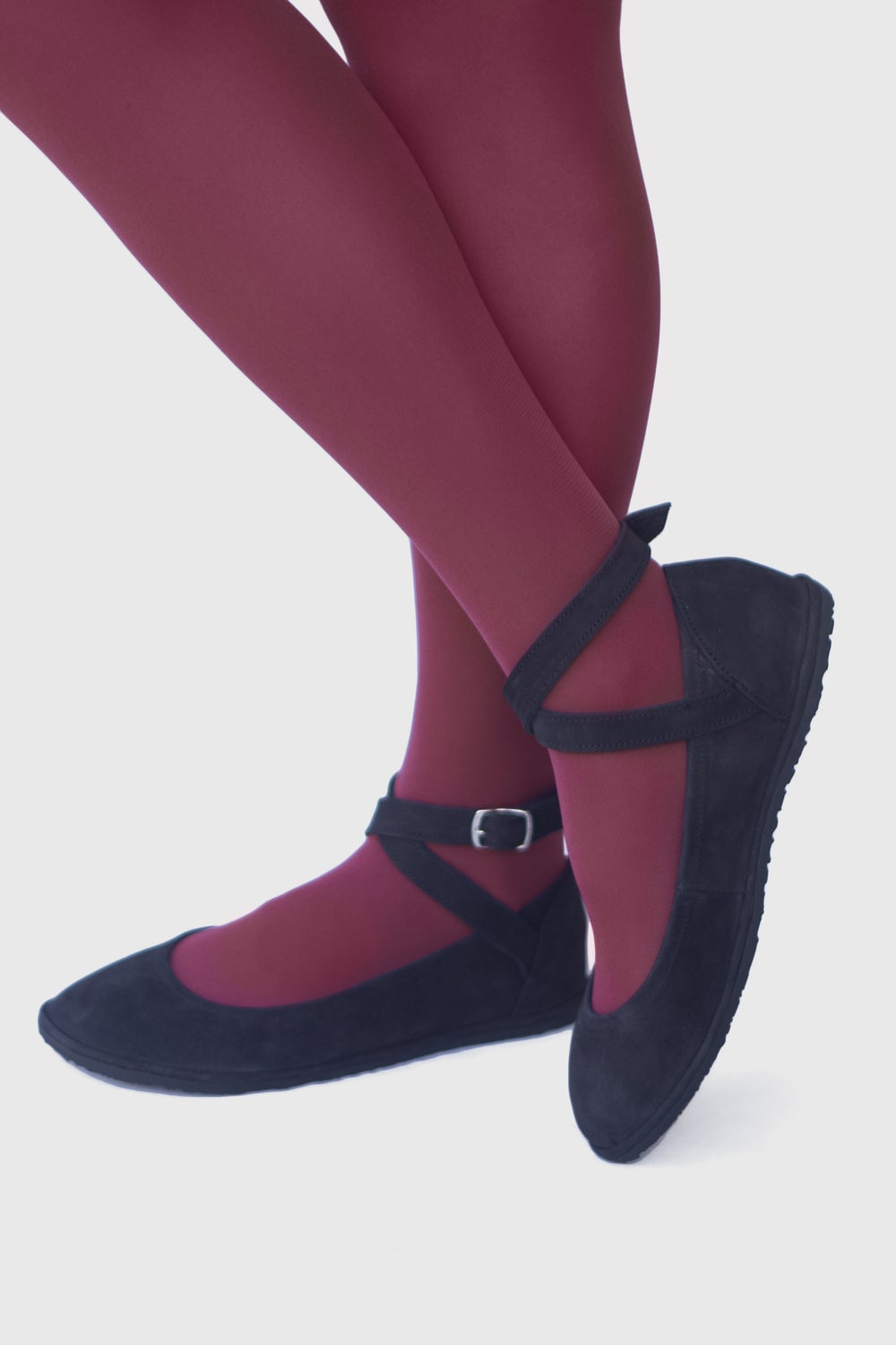 Image of Pax in Black Nubuck - Criss-Cross ankle strap flats