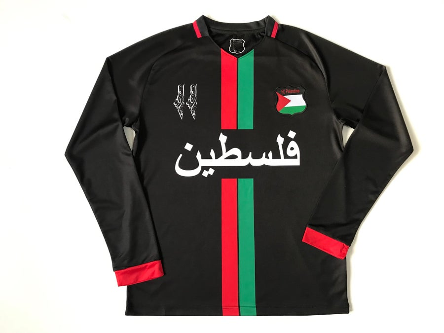Image of Palestine Black Centre Striped (Red/Green) L/S Football Shirt