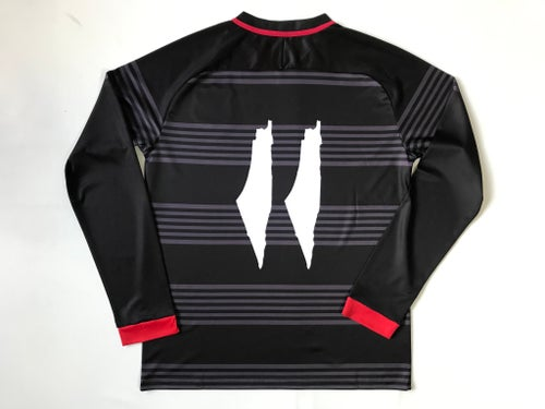 Image of Palestine Black hooped Football L/S Shirt