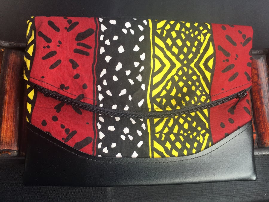 Image of Designs By IvoryB Crossbody Heidi Red Black Yellow Ankara African print