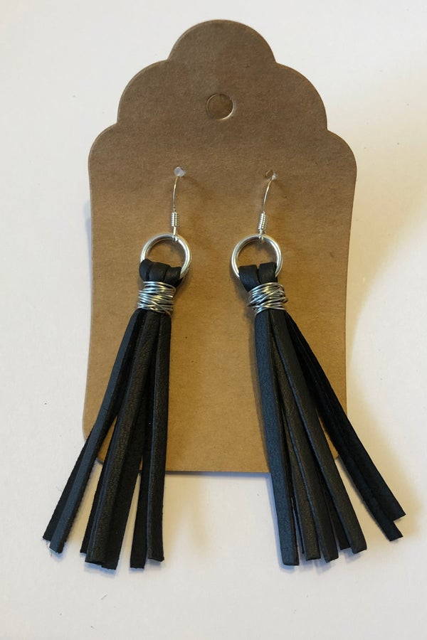 Image of Leather Earrings - Black Tassel