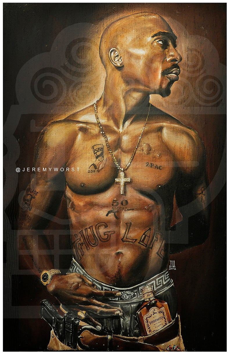 Image of JEREMY WORST Tupac 2012 Hennessy Original Artwork Signed Print painting drawing alive cali urban